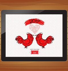 Chinese new year 2017 with rooster on tablet vector