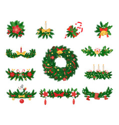 christmas decoration spruce and jingle bells vector image