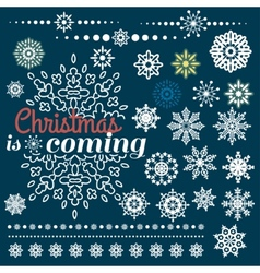 Christmas set of Borders with Snowflakes vector