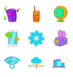 Cinema app icons set cartoon style vector