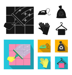 Cleaning and maid black flat icons in set vector