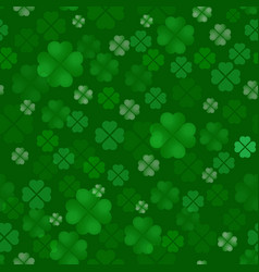 Clover quatrain seamless pattern irish feast of vector
