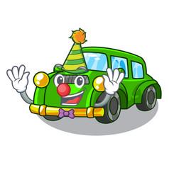 Clown classic car toys in cartoon shape vector