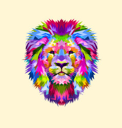 colorful mascot head lion vector image