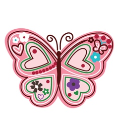 colourful butterfly with flower vector image