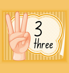 Count three with hand gesture vector