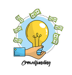 Crowdfunding business with bulb idea and bills vector