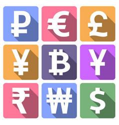 currency flat icons set vector image