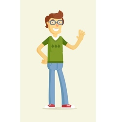 Cute boy in glasses greeting vector