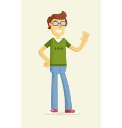 Cute boy in glasses greeting vector