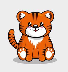 Cute tiger character kawaii style vector