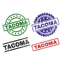 Damaged textured tacoma seal stamps vector