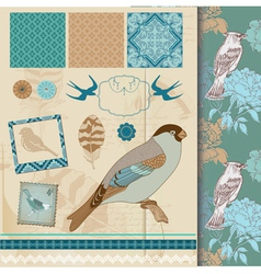 Design Set - Vintage Birds and Feathers vector image
