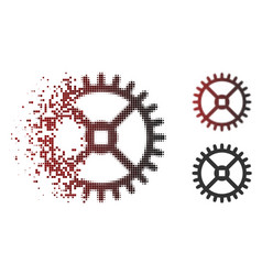 Dissipated pixel halftone clock gear icon vector