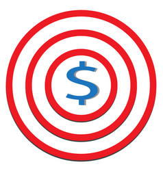 dollar target icon on white background dollar vector image