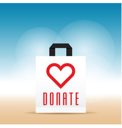 Donate symbol with heart on paper bag vector