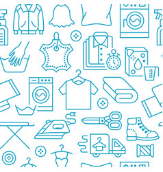 Dry cleaning laundry blue seamless pattern with vector