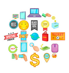 e-commerce icons set cartoon style vector image
