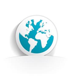 earth icon paper vector image