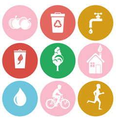 Ecology and health protection isolated round icons vector