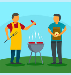Family bbq holiday at home background flat style vector