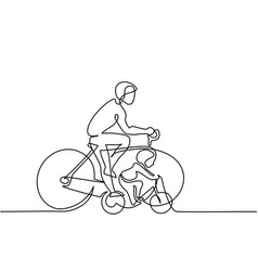 Father with son drive bicycles vector