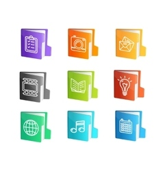 File Folder Colorful Icon Set vector image