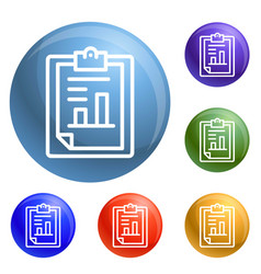 finance paper graph icons set vector image