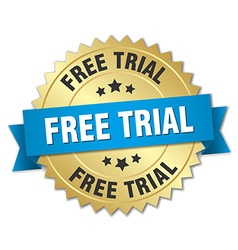 Free trial 3d gold badge with blue ribbon vector