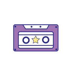 full color old cassette retro object stereo vector image