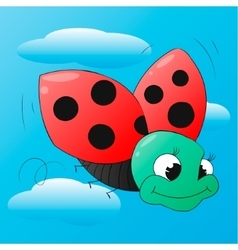 Funny cartoon ladybug isolated vector image