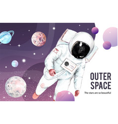 Galaxy frame design with astronaut planet vector