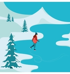 Girl skating in winter outdoors vector