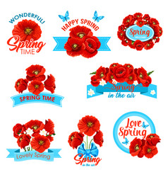 happy spring springtime holidays floral icon set vector image