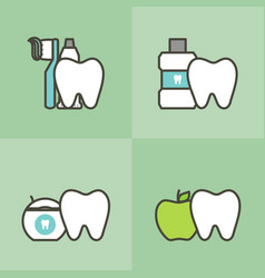 healthy tooth and best friends vector image