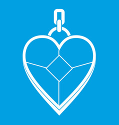 Heart shaped pendant icon white vector