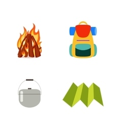 Hike set isolated Fire backpack cauldron vector