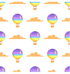 Hot airballoon with basket in sky seamless pattern vector