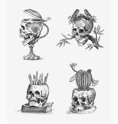 Human skull retro old school sketch for tattoo vector