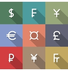 Icons currency symbols vector