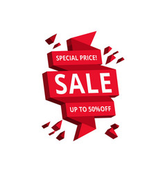 isolated red hanging sales tags vector image