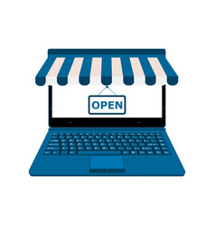 laptop display blue online shop open vector image