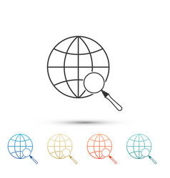 magnifying glass with globe icon isolated on white vector image