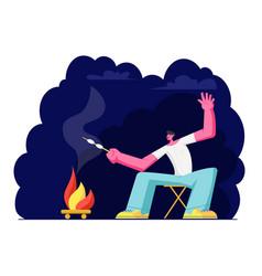 Man at campfire at night and frying marshmallow vector