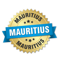 Mauritius round golden badge with blue ribbon vector