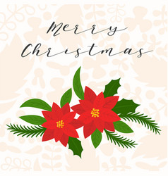 merry christmas hand lettering with poinsettia vector image