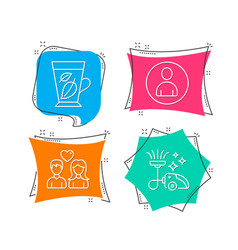 mint leaves avatar and couple love icons vacuum vector image