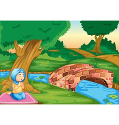 Muslim praying in the forest vector
