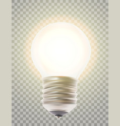 naturalistic lit glowing light bulb lighting on a vector image