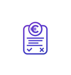 online invoice icon with euro on white vector image